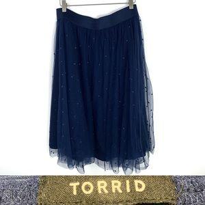 TORRID Size 1 Sheer Navy Polka Dot TULLE Skirt